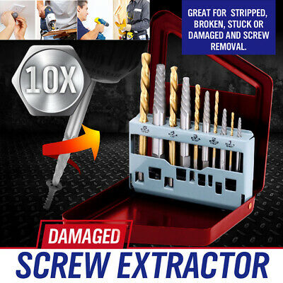 10pc/set Screw Extractor Left Hand Cobalt Drill Bit Set Easy Out Broken Bolt Kit