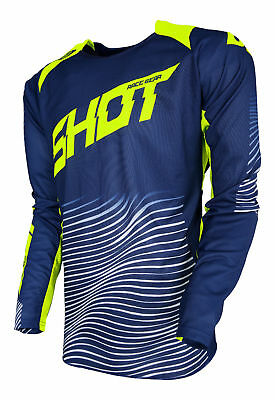 New 2018 Adult Shot Aerolite Optica Blue Neon Yellow Motocross Mx Enduro Jersey