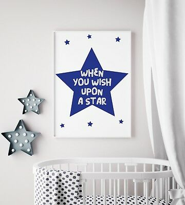 When You Wish Upon A Star Navy Cool Nursery Print Kids Room Wall Art Picture