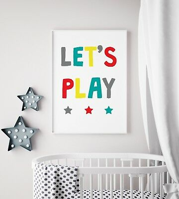 Let's Play Teal & Red Fun Print Baby Nursery Kids Room Wall Art Picture Gift