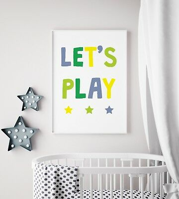 Let's Play Green & Yellow Fun Print Baby Nursery Kids Room Wall Art Picture Gift