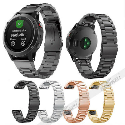 For Garmin Fenix 5 5X 5S GPS Watch Stainless Steel Metal Quick Fit Watch Band