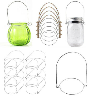8PCS Stainless Steel Wire Handles for Mason Solar Light Jar Hanger Hanging Hook