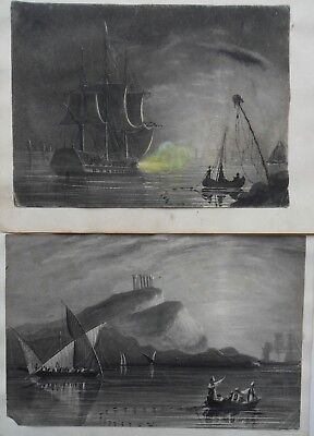 L Lewis Pair Of Early Original 19Th C Signed Naval/marine Paintings Dated 1830