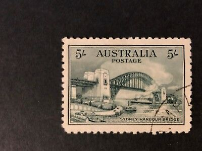 Sydney Harbour Bridge 5/- Blue-green 1932; used