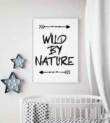 Wild By Nature Arrow Black Unisex Nursery Print Kids Bed Room Wall Art Picture