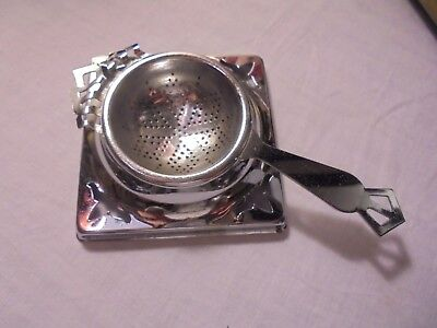 Vintage Chrome Plated Tea Strainer With Drip Tray