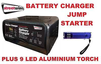 Streetwize 12v - 6/12 Amp Auto Battery Charger & 75 Amp Start SW75JS & LED Torch