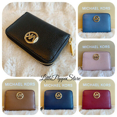 Nwt Michael Kors Leather Fulton Zip Around Coin Case Small Wallet In Various
