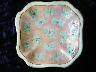 Antique Chinese late Qing Dynasty small flat pink square Bowl.