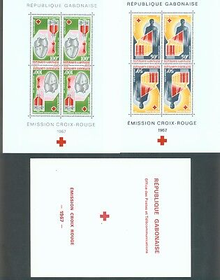 Gabon 1967 Red Cross set of 2 miniature sheets sg. MS296 in folder MNH