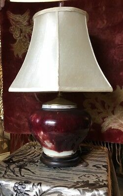 CHINESE early 19 century Sang de Boeuf ox blood Vase Lamp 28""