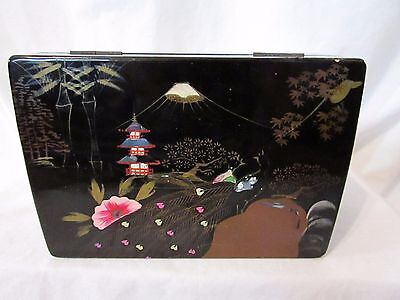 Vintage Peacock Asian Black Lacquer Jewelry Box Jewelry Chest  Mirrored