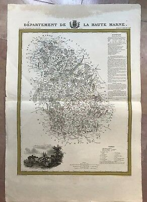 CHAMPAGNE DEPARTEMENT OF HAUTE MARNE 1841 by DUSSILLON VERY LARGE ANTIQUE MAP