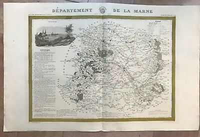 CHAMPAGNE DEPARTEMENT OF MARNE 1841 by DUSSILLON VERY LARGE ANTIQUE MAP