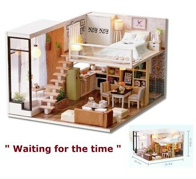 Doll House Wooden Miniature DollHouse Furniture DIY Kit LED Light Box Gift Toy
