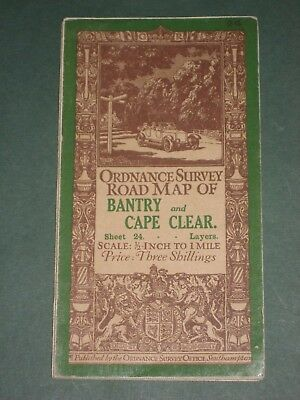 Vintage Map - Ord Survey, Sheet 24 Bantry & Cape Clear  1/2 Inch to 1 Mile, 1913