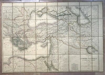 Ottoman Empire 1839 Large Antique Copper Engraved Map On Liner With Antique Box