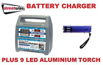 Streetwize 6/12v 8 Amp Fully Automatic Car Battery Charger  SWBCG8 & LED Torch