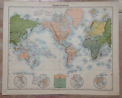 PLANISPHERE by GEISENDORFER XIXe CENTURY LARGE ANTIQUE ENGRAVED MAP IN COLORS