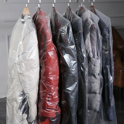 10 Packs of Garment Covers Dry Cleaner Coat Bag Clear Plastic Hanging Suits Home