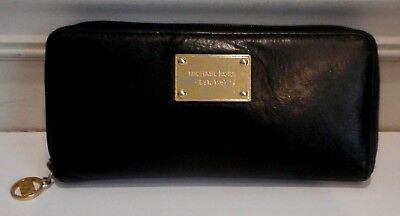 Michael Kors, Black Genuine Leather, Zip Around Clutch Wallet