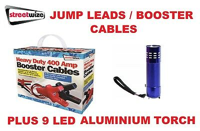 Streetwize Booster Cables 400 Amp 2.5 Metre  Jump Leads - SWBCBX7 & 9 LED Torch