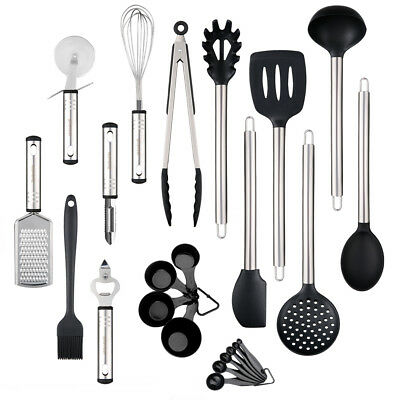 23Pcs Stainless Steel Kitchen Utensil Set Serving Tools Silicone Heads NonStick