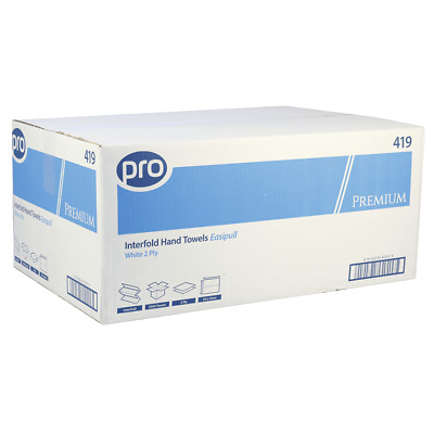 Paper Hand Towels Interfold Pro White 2 Ply | Premium Quality | 3200 Towels
