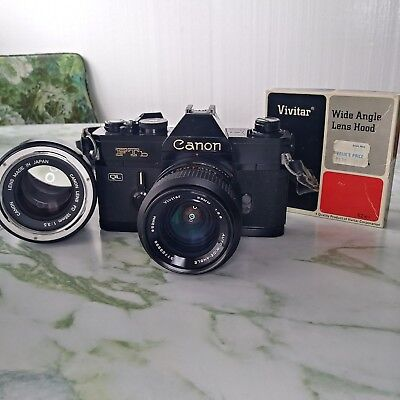 Canon FTb QL 35mm SLR Film Camera with 2 LENSES,  lens hood *NICE VINTAGE 35MM*
