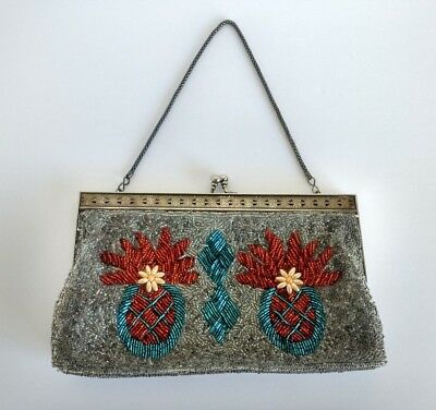 Vintage Small Beaded Clutch Silver Grey Pineapple Purse Lined Art Deco Purse