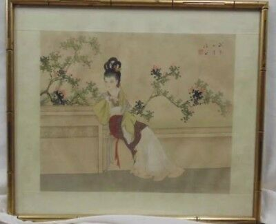 Antique Watercolor painting Asian Portrait Of A Lady Signed And Framed