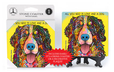 Bernese Mountain Dog All You Need Is Love And A Dog Dean Russo Drink Coaster