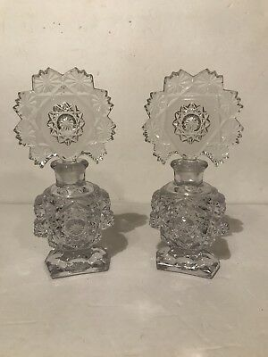 Antique Vintage Perfume Bottles Pair Fan Stoppers Irice ? Imperial ? Beautiful
