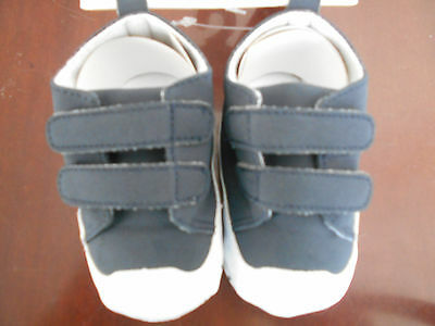 Navy Blue Super Star Shoes with Velcro Fasteners by Soft Touch 6-12mths