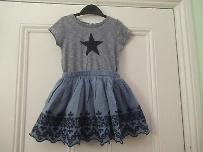 18-24m: Blue cotton summer dress: Stripey top/Embroidered chambray skirt: NEXT