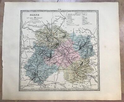 CHAMPAGNE DEPARTEMENT OF MARNE 1880 by FISQUET ANTIQUE ENGRAVED MAP XIXe CENTURY