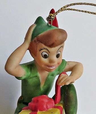 Disney Grolier 1995 Peter Pan Gift Box Porcelain Christmas Ornament Figurine NEW