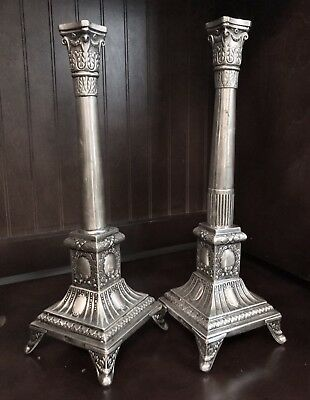 Antique Solid Silver Pair Of  Candlesticks From Poland - 540 Gram Total