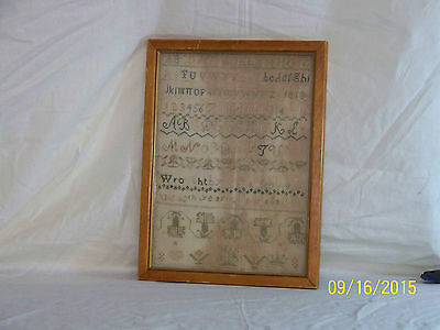 Antique c1818 Sampler By Elsa Scovill Numbers-Letters-Figures Well Done!