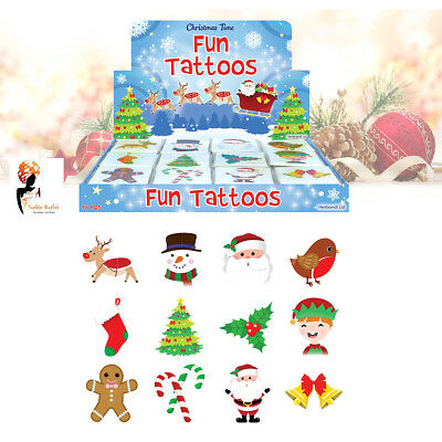 12 Packs of Christmas Fun Tattoos Great Stocking Kids Birthday Party Bag Filler