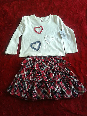 Girls 2 piece set Long sleeve Top& check Skirt, 100% cotton  Kids Clothes3-4 Yrs
