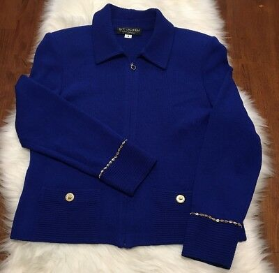 St John Collection Marie Gray Royal Blue Knit Jacket Gold Button Chain Zip 8
