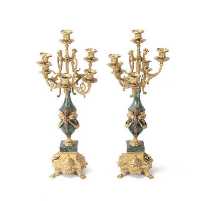 Antiques Brevettato Brass Candelabrums  Green Marble Cherub Candle Vintage Italy