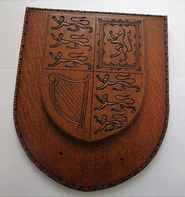 Vintage Reproduction Of Queen Elizabeth Ii Heraldic Sheild Wall Plaque