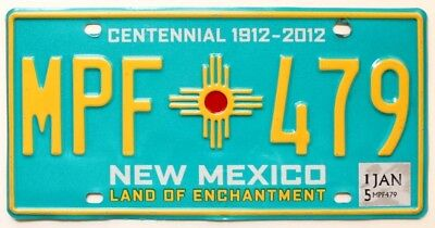 New Mexico Turquoise Centennial License Plate, MPF 479, Zia Indian Sun Symbol