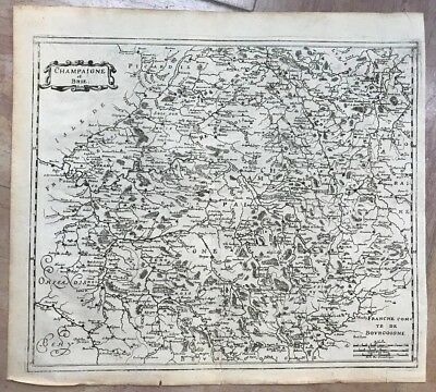 CHAMPAGNE & BRIE FRANCE 1638 by Matheus MERIAN UNUSUAL ANTIQUE ENGRAVED MAP