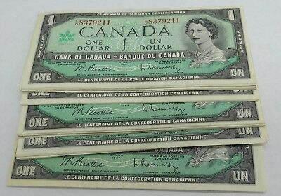1967 Bank of Canada $1 Dollar Bill Note AU / Unc Canadian Centennial Serial #'s