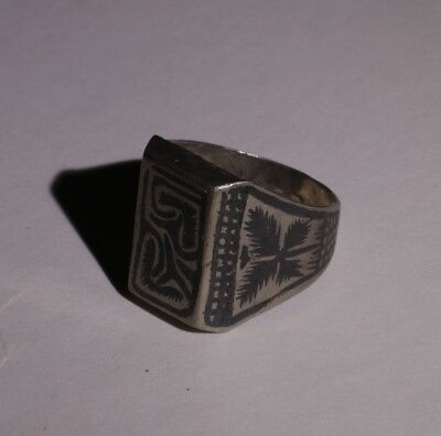 Nice Post Medieval Silver Ring With Niello Inlay  - No Reserve! 0112