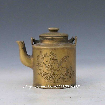 Collectable Chinese Brass Hand Carved Child Teapot